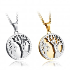 Personality Tree of Life Men Necklace Domineering Retro Round Card Titanium Steel Pendant Word gold one size