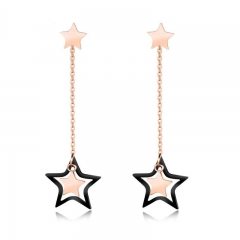 Ms Temperament Five-pointed Star Earring Simple Long Section Personality Earrings gold one size