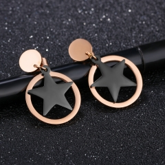 Western Style Fashion Circle Black Five-pointed Star Geometry Ms Simple Wild Earring gold one size