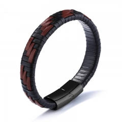 Western Style Creative Black Brown Textile Men Titanium Steel Creative Bracelet black one size