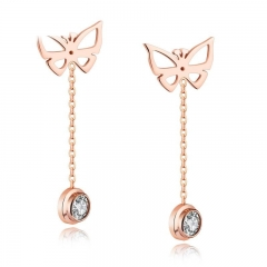 Sweet Simple Single Drill Butterfly Personality Earring Fashion Wild Accessories gold one size