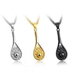 Western Style Fashion Mini Tennis Pendant Bodybuilding Movement Titanium Steel Men Necklace gold one size