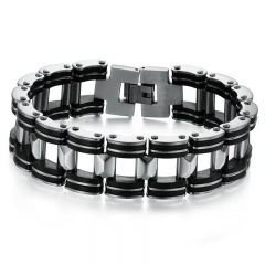 The New Personality Fashion Simple Men Silica gel Titanium Steel Bracelet black one size