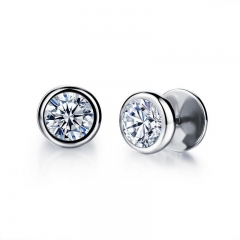 Retro Temperament Elegant Round Inlaid with zircon Do not Fade Wild Accessories Earrings white one size
