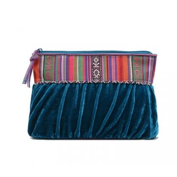 Fancy ethnic corduroy Makeup bag Cluch bag peacockblue big size