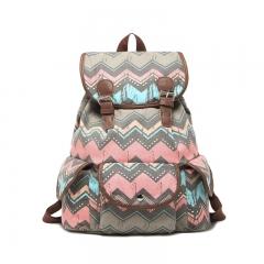 Bohemian style pattern Canvas Back bag Shoulder bag College style gray big size