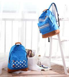 Canvas with chamois leather Back bag Shoulder bag Couple model College style blue ethnic pattern big size