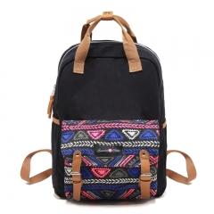 Ethnic pattern Back bag Shoulder bag Handbag Black College style Unisex Black black big size