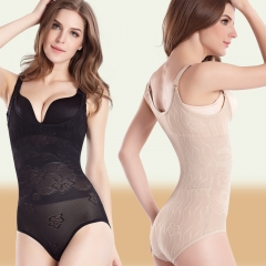 Women's Lace Bodyshaper Corset Body Briefer Bodysuit Slimming shapewear black s
