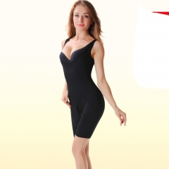 Women's Seamless Shapewear Open-Bust Mid Thigh Bodysuit Shapers black S-M