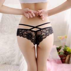 Women Sexy Lace Thongs PantiesTransparent Cross Over Bandage Briefs Lingerie Underwear black one size