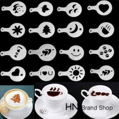 HN-16Pcs Coffee Milk Cake Cupcake Stencil Barista Cappuccino Template Strew Pad Duster Spray Tools white as picture