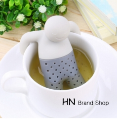 HN Brand-Partner Cute Mr Teapot Silicone Tea Infuser Filter Teapot for Tea & Coffee Drinkware grey as picture