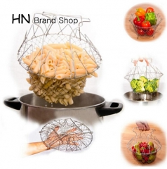 HN-Foldable Steam Rinse Strain Fry French Magic Basket Mesh Basket Strainer Net Kitchen Cooking Tool Silver as picture