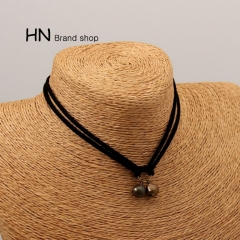 HN Brand-1Pcs/Set New Hot Black velvet with lace bell Necklace Women Jewelry as picture chain length:31cm