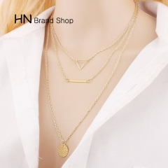 HN Brand-1Pcs/Set New Beautiful Hot Triangle circle alloy necklace For Women Jewelry Gift gold one size