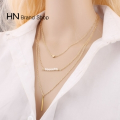 HN Brand-1Pcs/Set New Beautiful Hot Multi layer Pearl Necklace For Women Jewelry Gift gold one size