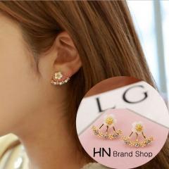 HN Brand-1 pair/Set New Beautiful Hot Daisy flowers Diamond Stud Earrings For Women Jewellery Gift gold One size