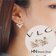HN Brand 1 pair/Set New Beautiful Hot Horse eye flower Gemstone Stud Earrings For Women Jewellery gold one size