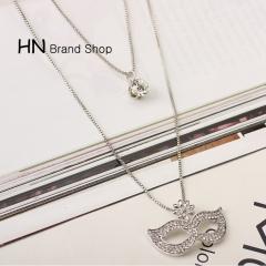 HN Brand-1Pcs/Set New Beautiful Hot Multi-storey Mask Diamond Gem Necklace Pendant Women Jewelry 925 pure silver chain length:54cm