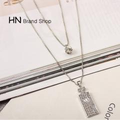 HN Brand-1Pcs/Set New Beautiful Multi-storey Diamond Perfume bottle Necklace Pendant Women Jewellery 925 pure silver chain length:54cm