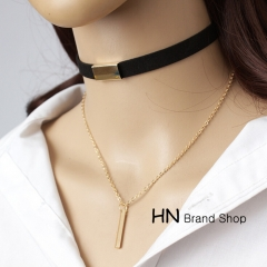 HN Brand-1Pcs/Set New Beautiful Bilayer cortex Velvet multi layer Tassel Necklace choker For Women Brown+gold chain length:42cm
