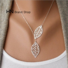 HN Brand-1Pcs/Set New Beautiful Metal double leaf Necklace 2 leaves Pendant For Women Gift Silver one size