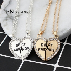 HN Brand-1 pair/Set New Beautiful Fashion best friends Heart Pendant pendant alloy Diamond necklace gold perimeter:46cm