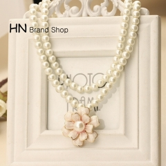 HN Brand-1Pcs/Set New Beautiful Fashion Boutique double pearl Camellia Necklace  For Women Jewellery White one size