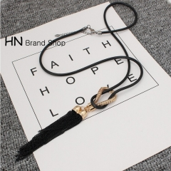 HN Brand-1Pcs/Set New Beautiful Fashion Knotted Tassel Necklace For Women Jewelry black chain length:72cm