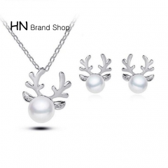 HN Brand-1Pcs/Set New Beautiful Diamond pearl necklace jewelry necklace set for Christmas Women Gold Necklaces chain length:40cm
