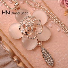 HN Brand-1Pcs/Set New Cat's-eye rose sweater chain necklace Pendant for Christmas Women Jewellery as picture chain length:64cm