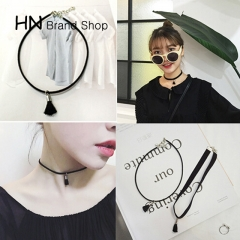 HN Brand-1Pcs/Set New Simple cashmere belt necklace Jewelry Pendant for Christmas Women Jewellery black one size