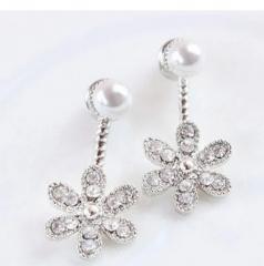 HN Brand-1 pair/Set New Beautiful Hot Pearl diamond five flower Metal stud earrings Women Jewellery silver 1cm*2.1cm