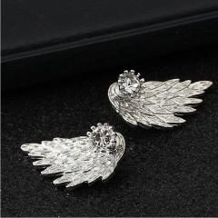 HN Brand-1 pair/Set New Beautiful Hot Angel wing Feather diamond alloy stud earrings Women Jewellery silver 1.5cm*3cm