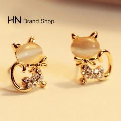 HN Brand-1 pair/Set New Beautiful Hot Opal diamond cute pussy cat stud earrings Women Jewellery white 1.1cm*1.5cm
