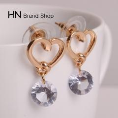 HN Brand-1 pair/Set New Beautiful Hot Love zircon Metal stud earrings Women Jewellery gold 1.3cm*2.1cm