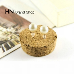 HN Brand-1 pair/Set New Beautiful Hot Simple pearl bean stud earrings For Women Jewellery Gift white 0.8cm