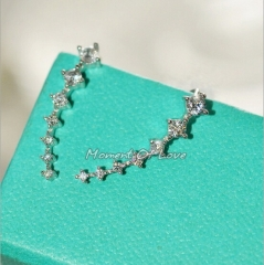 HN Brand-1 pair/Set New Beautifult A row of 7 Diamond stars stud earrings For Women Jewellery Gift silver chain length:0.22cm