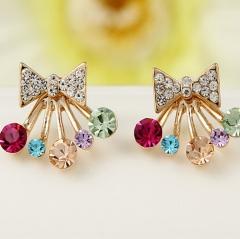HN Brand-1 pair/Set New Beautiful Hot Diamond diamond color Pentagram bow crown Earrings Jewellery Butterfly 1.8cm*1.7cm