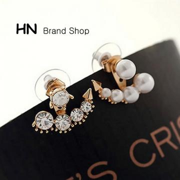 HN Brand-1 pair/Set New Diamond pearl earrings For Women Jewellery Gift gold 2.1cm*1.9cm
