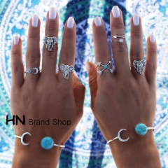HN Brand-6 piece/Set New Beautiful Turquoise moon arrow elephant Combination Rings Women Jewellery silver one size