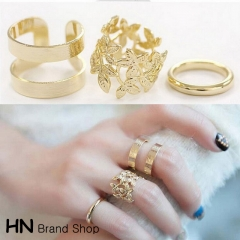HN Brand-3 piece/Set New Beautiful Leaf metal Rings Women Jewellery Gift gold one size