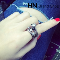 HN Brand-4 piece/Set New Beautiful Diamond metal composite Rings Women Jewellery Christmas Gift silver one size