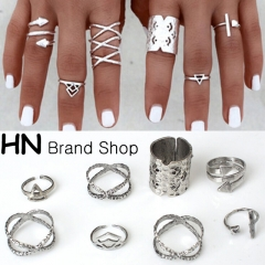 HN Brand-8 piece/Set New Beautiful Bohemia metal Arrow cylinder Rings Women Jewellery Christmas Gift silver one size