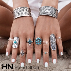 HN Brand-9 piece/Set New Bohemia wide edition carved geometric Totem metal Rings Women Jewellery silver one size