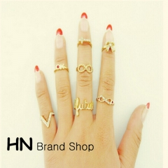HN Brand-7 piece/Set New Diamond 8 words V characters butterfly cross metal Rings Women Jewellery gold one size