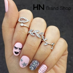 HN Brand-3 piece/Set New Beautiful Diamond leaf suit metal Rings Women Jewellery Christmas Gift gold one size