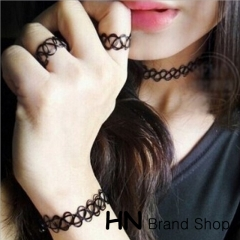 HN Brand-2017 New Hollow braided fishing line elastic Necklace Rings Women Jewellery black 3 piece suit elastic