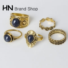 HN Brand-5 piece/Set New Beautiful Black gemstone drops Alloy Rings Women Jewellery Christmas Gift gold one size